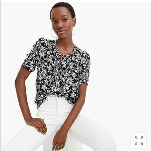 Jcrew Ruched-sleeve top in floral print